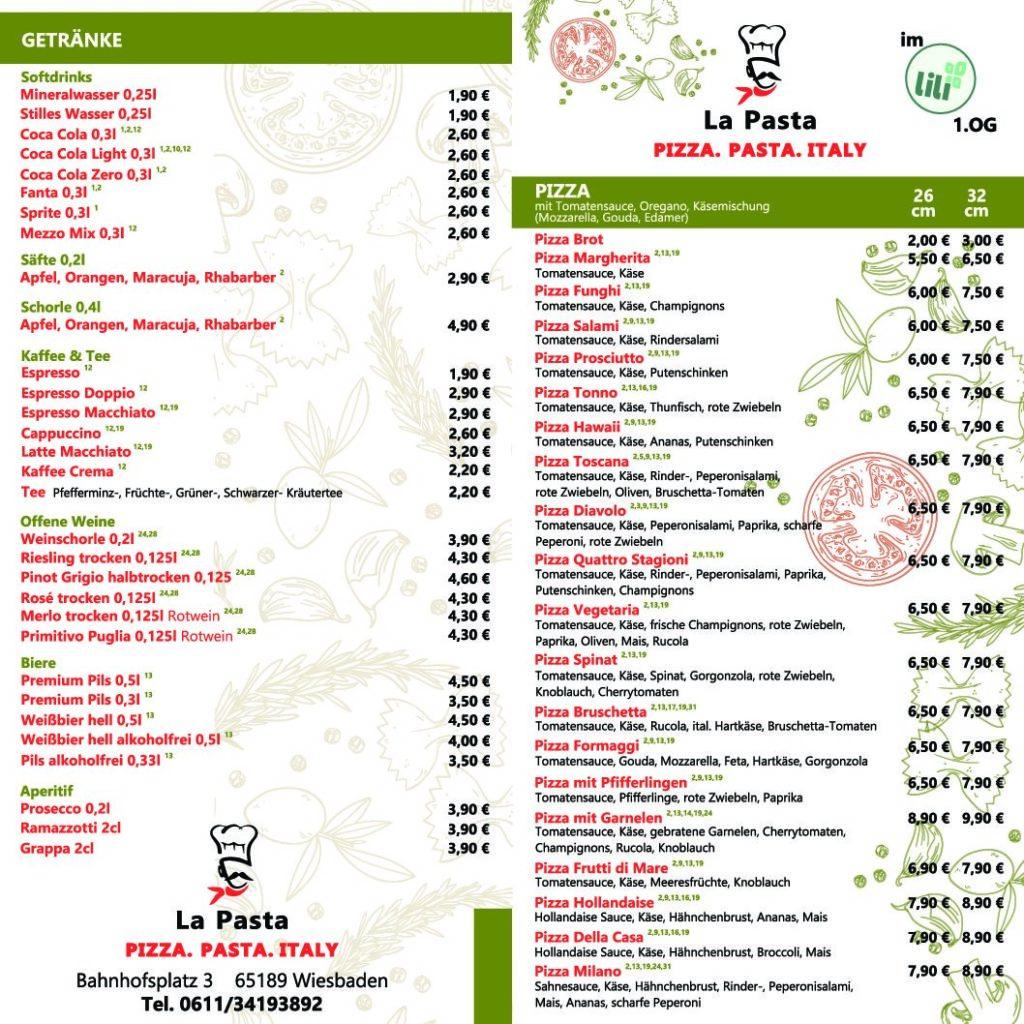 Speisekarte La Pasta S1