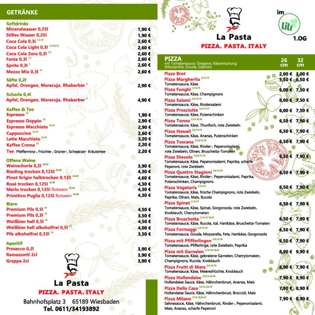 Speisekarte La Pasta S2