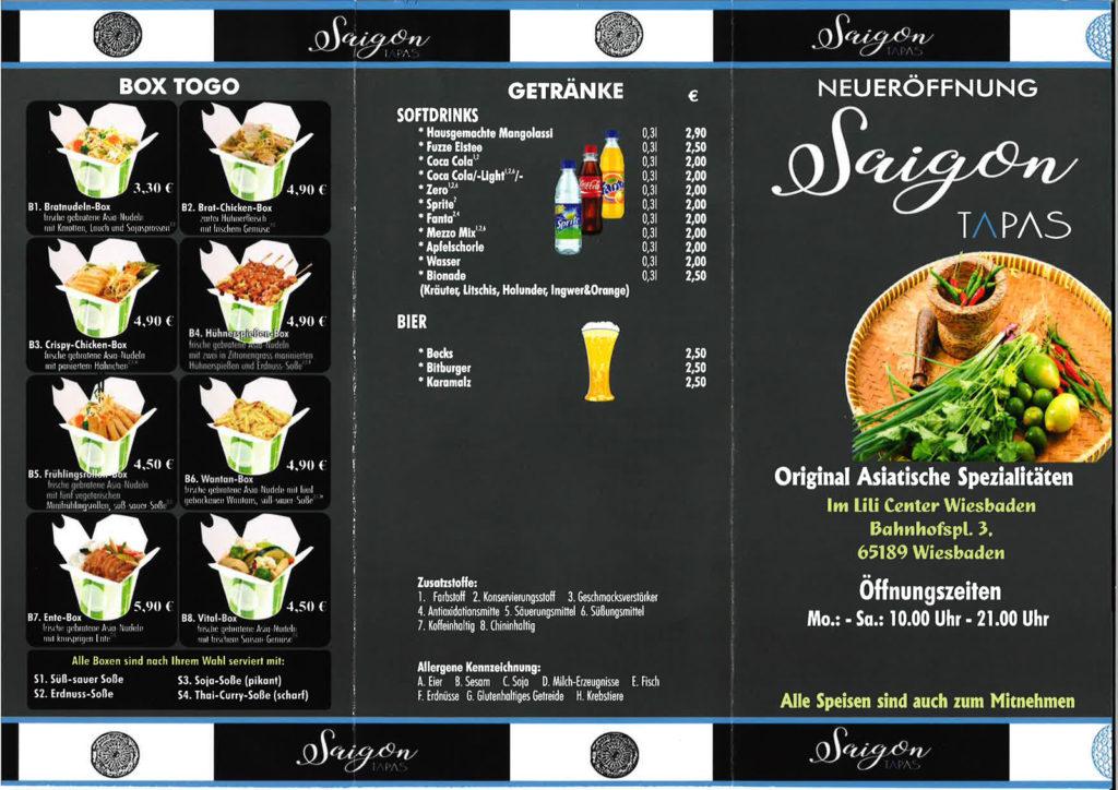 Speisekarte Saigon Tapas seite 1