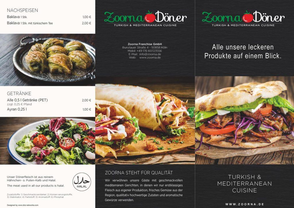 Speisekarte Zoorna im Lili Seite 1